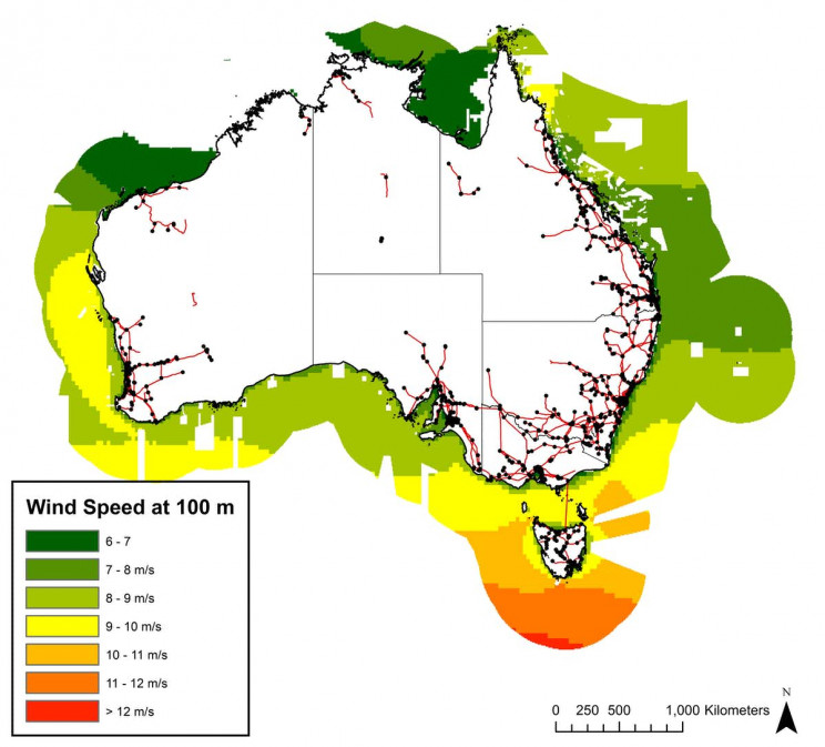 Average wind speed to 2019