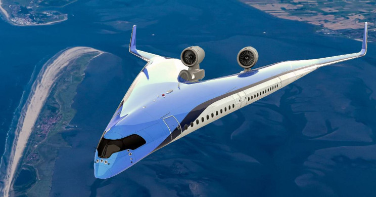 Energy-Efficient V-Shaped Ride-in-the-Wings Jetliner Successfully Took Off