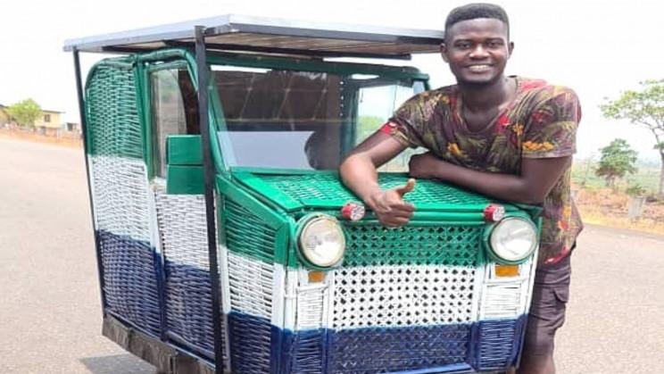 Inventor Builds First Solar Powered Trash Car in Sierra Leone