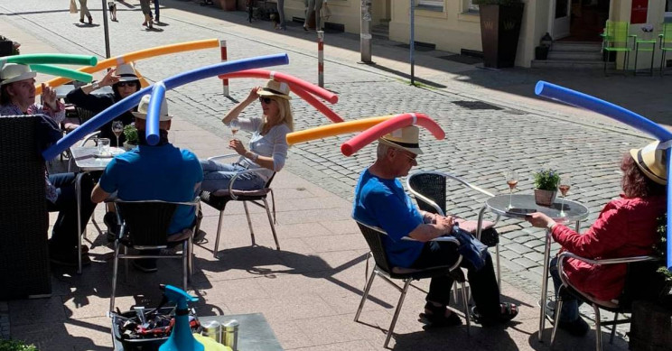 Pool Noodle Hats Are the New Way to Enforce Physical Distancing in Germany