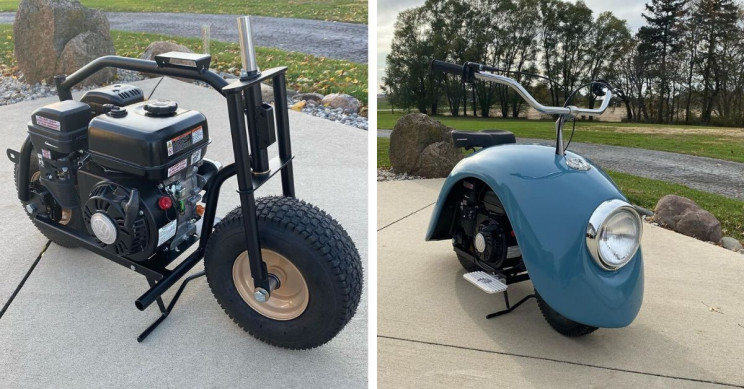 An Original Volkswagen Beetle's Wheel Hubs Are Turned into Fashionable Mini-Scooters