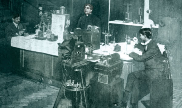 Bose in his lab