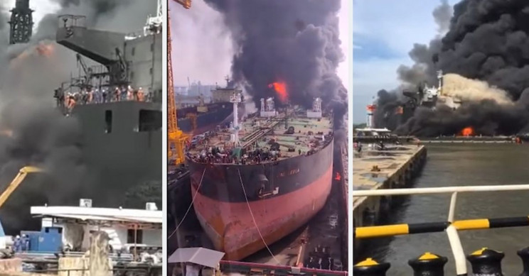This Oil Tanker Fire Injured 22 People, Exploded Twice, Trapped More Onboard