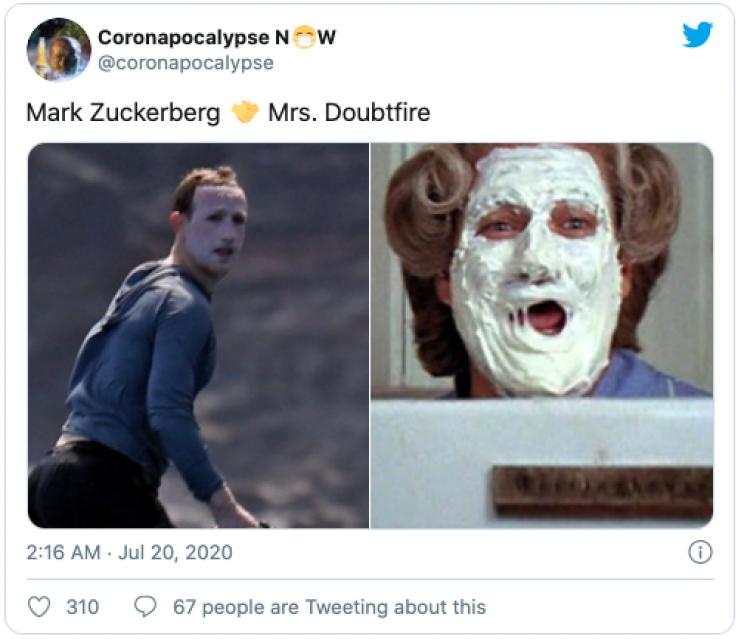 Mark Zuckerberg Drenches Face in Sunscreen, Memes Inevitably Follow