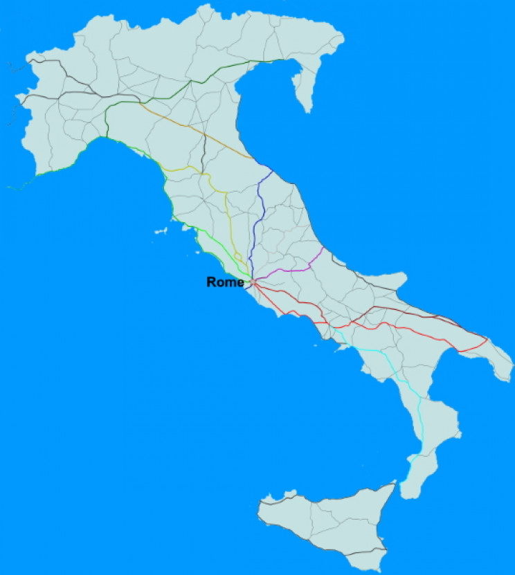Roman roads in Italy