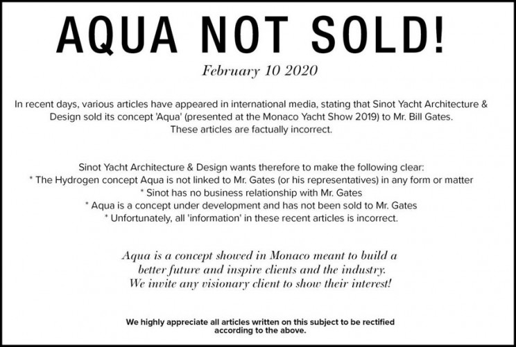Notice on yacht printed on Sinot's homepage.