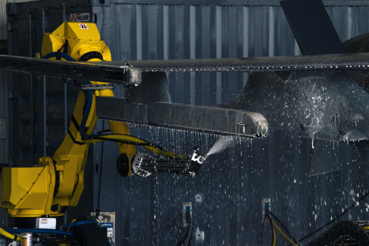 F-16 Fighter Jets Get a Full Wash by Robots Now