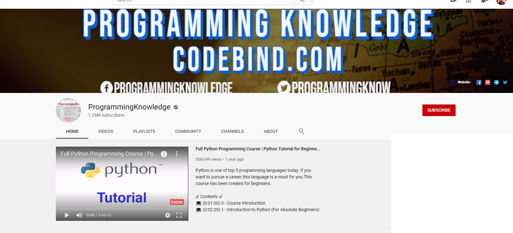 youtube programming knowledge