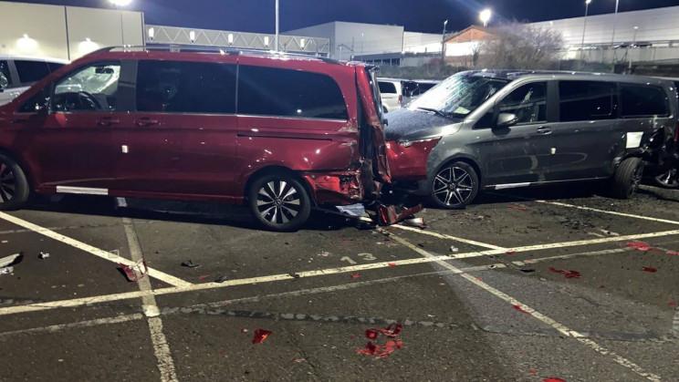 Rampaging Man Mercedes Factory Red Van