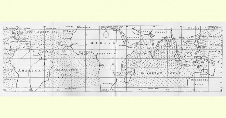 Edmund Halley's Map of Global Trade Winds