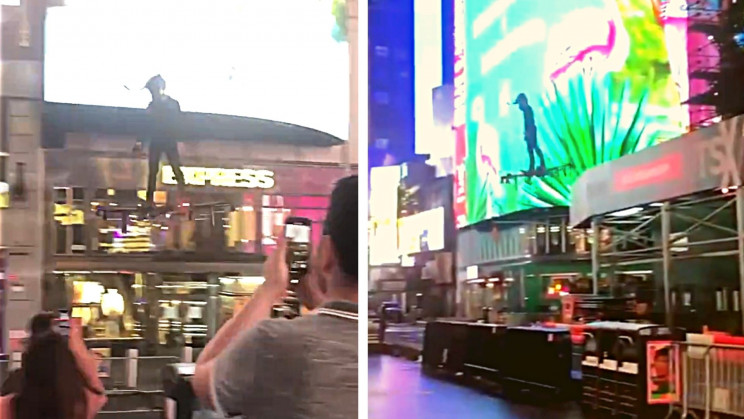 A Man Flew Through Times Square on a Colossal Drone