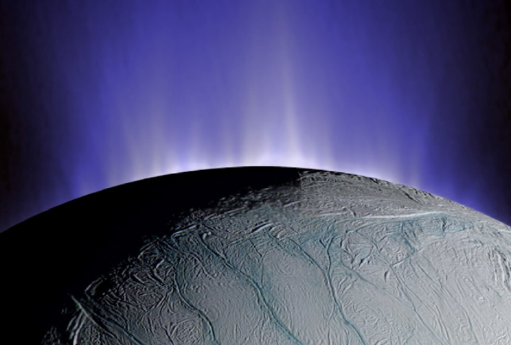 This composite image demonstrates how Enceladus spews plumes of water emanate from fissures its surface (Credit: NASA / JPL Illustration)