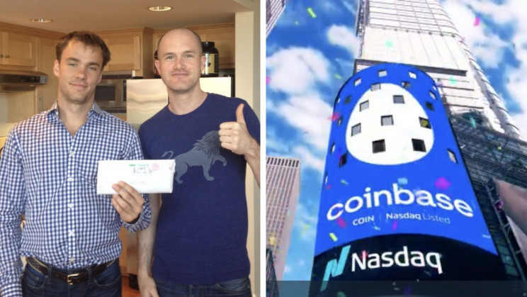 Coinbase Founders' Photo Goes Viral as Crypto Platform Hits $100bn Valuation
