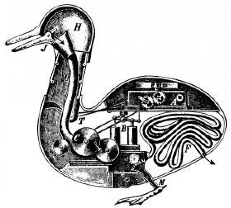 history of robots digesting duck