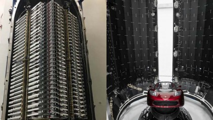 Elon Musk Shows Off 60 Starlink Satellites Packed into Falcon Rocket