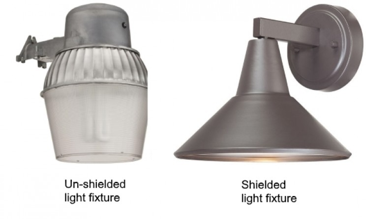 Un-shielded and shielded light fixtures