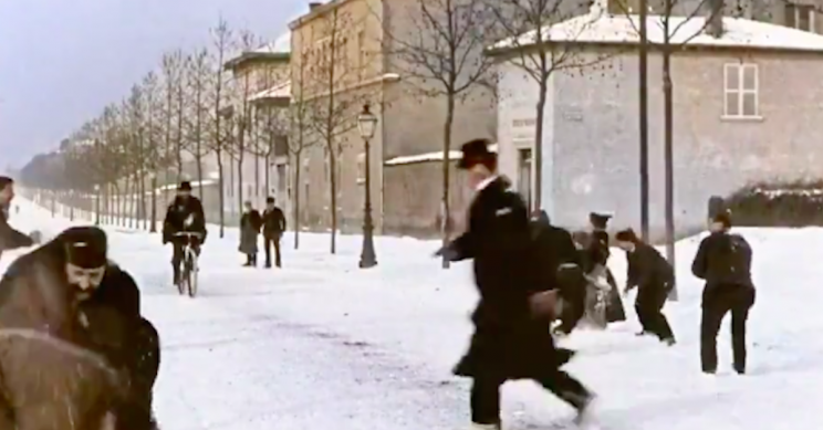 Entertaining Colorized Footage of an 1896 'Snowball Fight' Will Captivate You