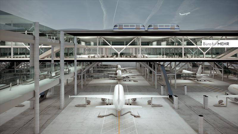 futuristic airports drive-thru
