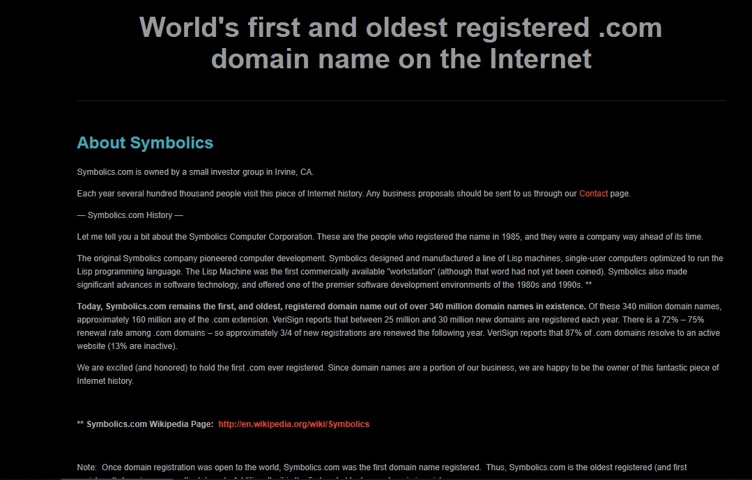 oldest websites symbolics