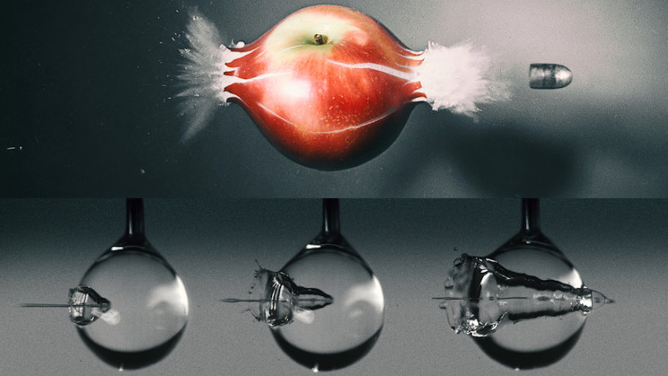 High-Speed Camera Footage Shows a Water Jet Impacting a Water Droplet