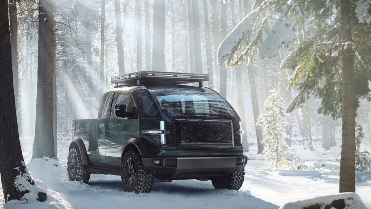 Canoo's New Electric Pickup Inverts Cybertruck's Design Aesthetic