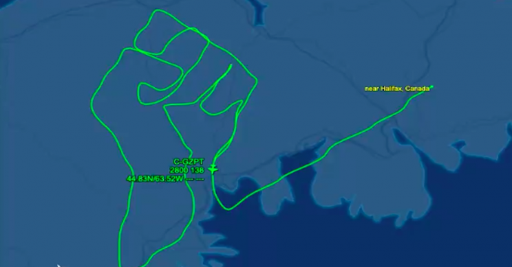Pilot Honors George Floyd with Raised Fist Symbol as Flight Path