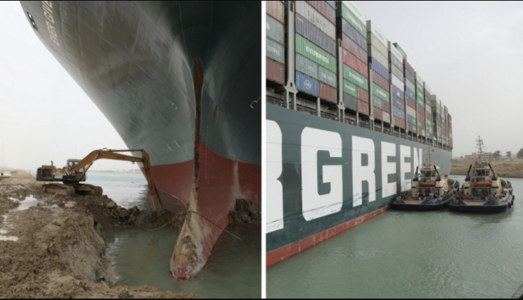 "Ever Given: Ship Partially ""Refloated' After Nearly a Week Blocking Suez Canal"