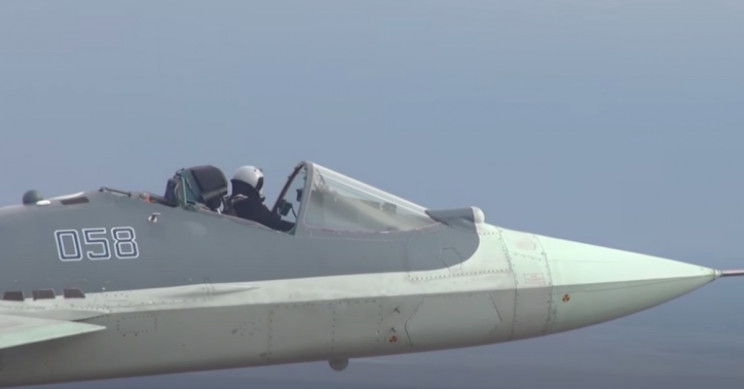 Russian Su-57 Fighter Jet Pilot Flies Without Protective Shield