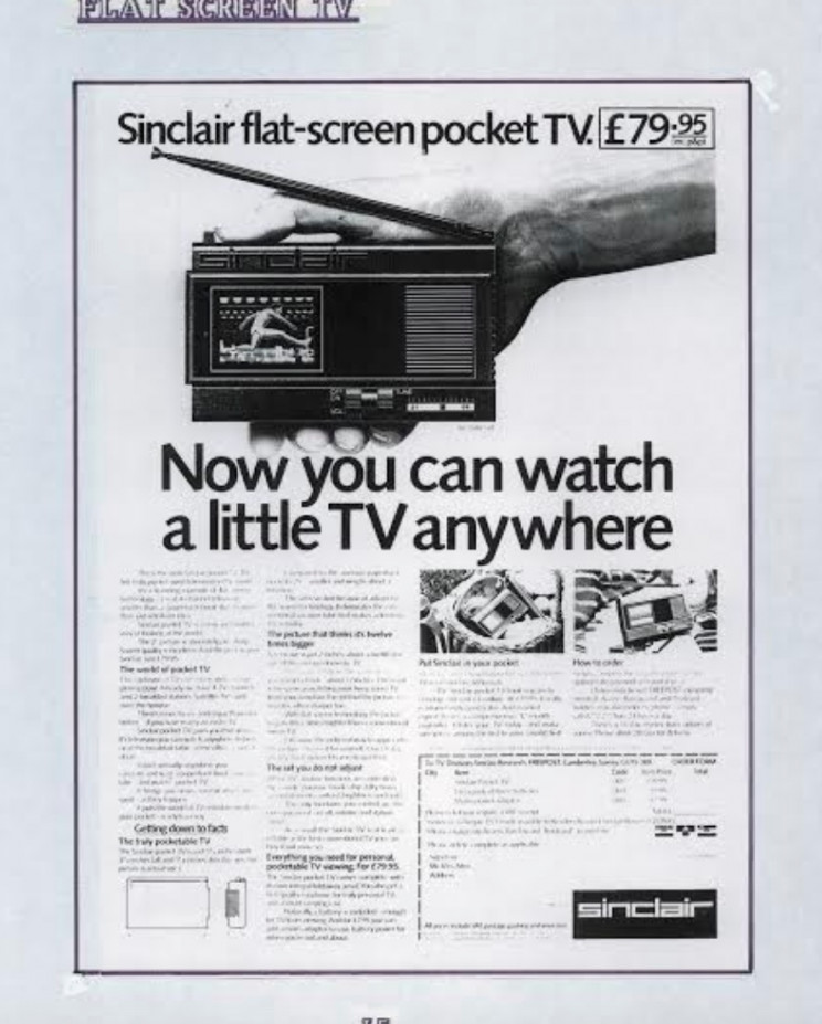Sinclair flat-screen TV, Enrico Tedeschi collection, Sinclair archeology