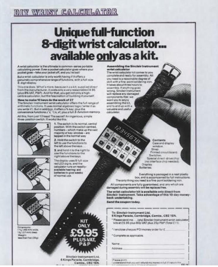 Enrico Tedeschi collection, Sinclair wrist calculator