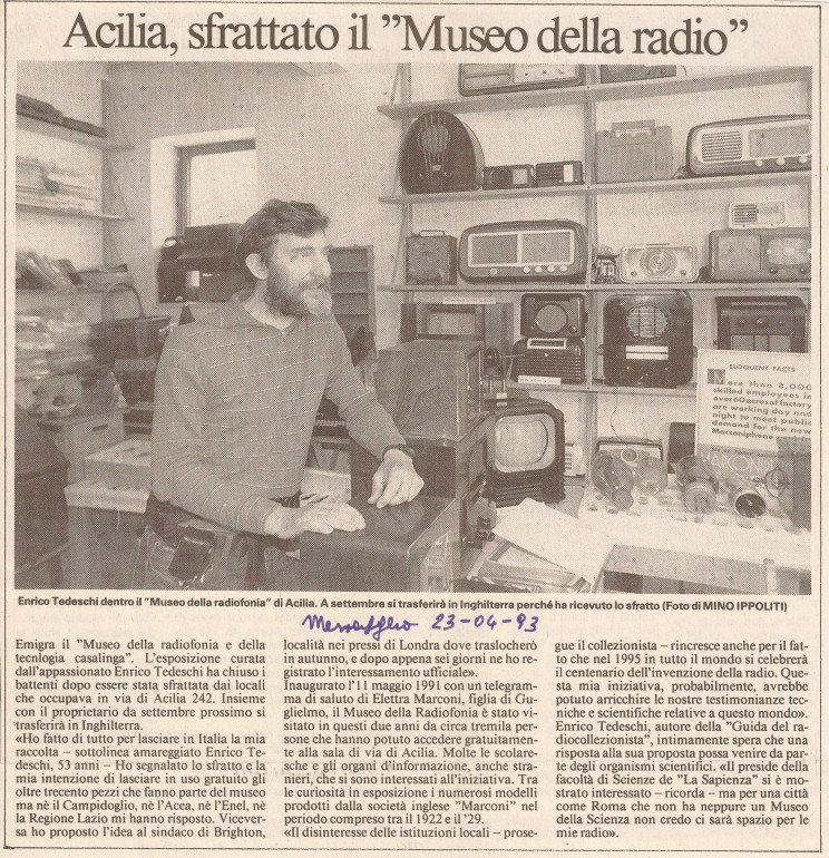 Enrico Tedeschi, museum of the radio in Italy