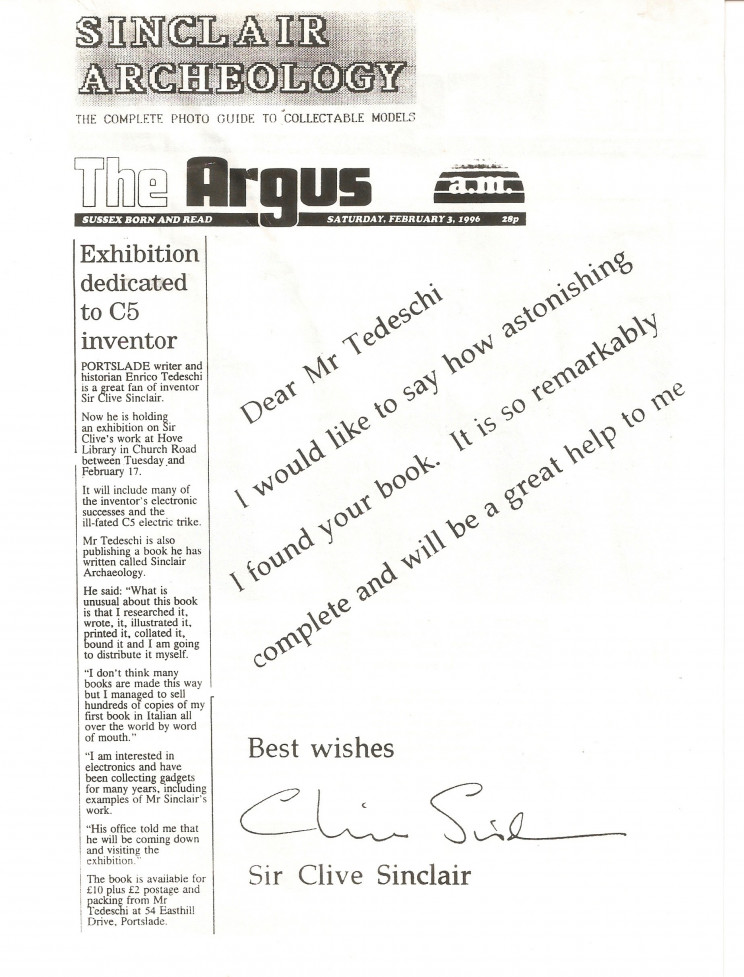 Enrico Tedeschi, Sir Clive Sinclair recognition to Tedeschi in The Argus newspaper