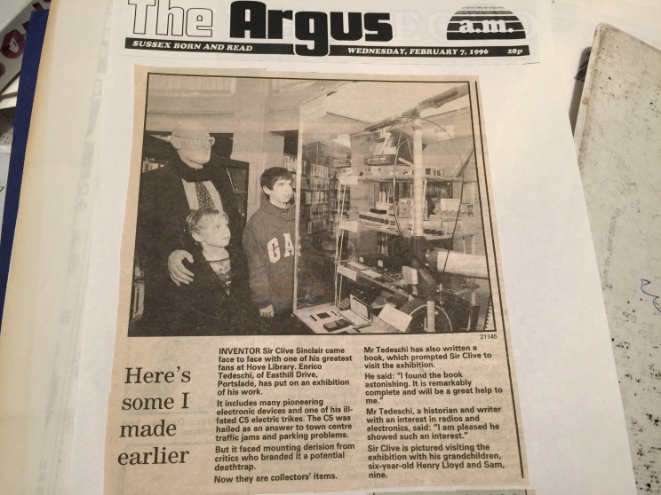 Sir Clive Sinclair visits Enrico Tedeschi's Sinclair exhibition in Hove