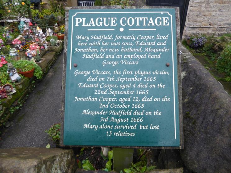 Plague Cottage Information Board Eyam UK