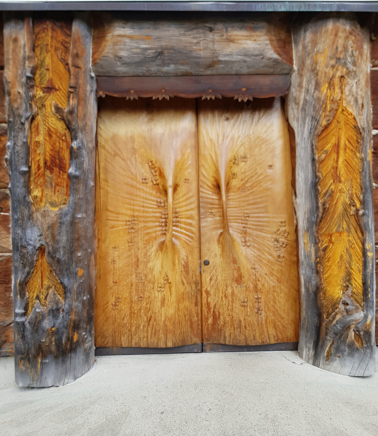 Door detail in church by artist Eva Ryynönen in a deep forest in Paateri, Lieksa, Finland/Source: Courtesy of Valma Harjutsalo