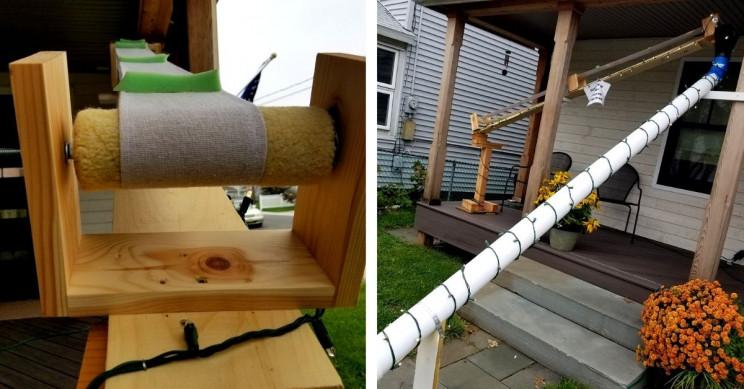 Science Teacher Builds Drill-Driven Conveyor Belt for Halloween Treats
