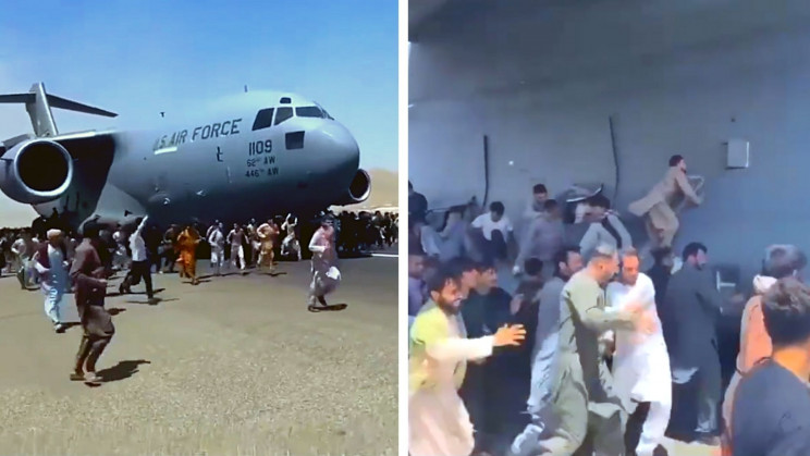 Video Shows People Clinging to Moving Air Force Plane in Attempt to Flee Afghanistan