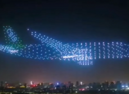 A Swarm of 800 Drones Create a Giant Airplane in the Sky