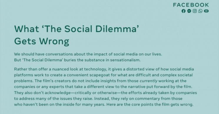 Facebook Responds Social Dilemma