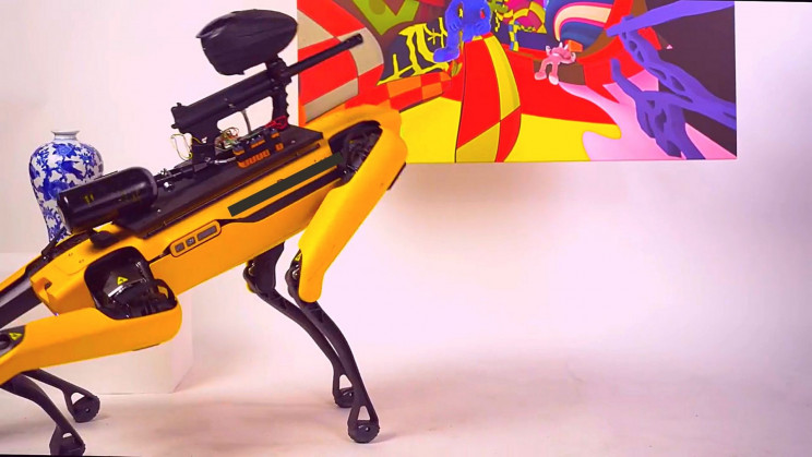 Company Arms Boston Dynamics Robot With Paintball Gun and Lets Public Drive