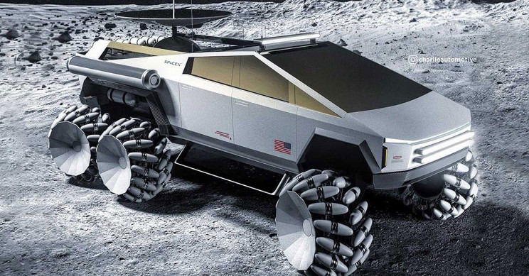 Cybertruck Turned SpaceX-NASA Moonrover Looks Out of This World