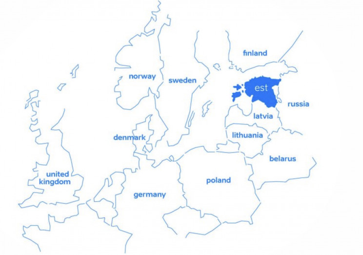 Estonia, location on the map