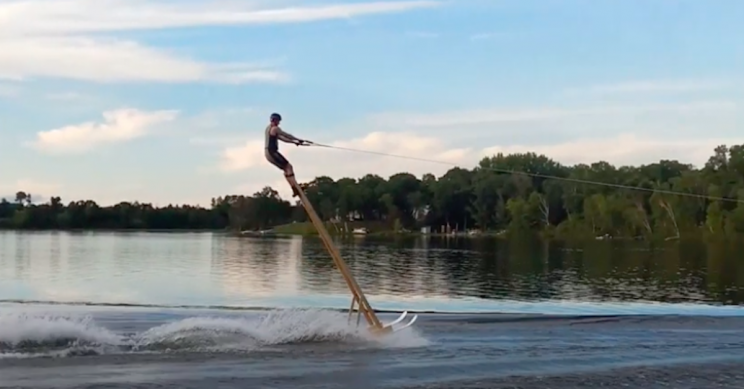Dentist Breaks Unofficial World Record for Waterskiing With the Tallest Stilts