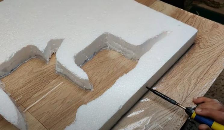 diy desk waterfall melt hole