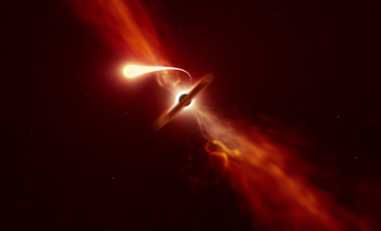 Artist Rendering of an Object Being Consumed by a Black Hole