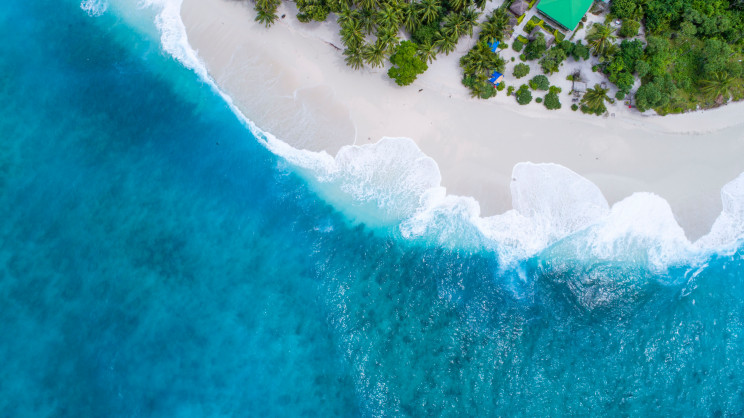 Deep blue waves come ashore near a house set amidst green trees in the Maldives.