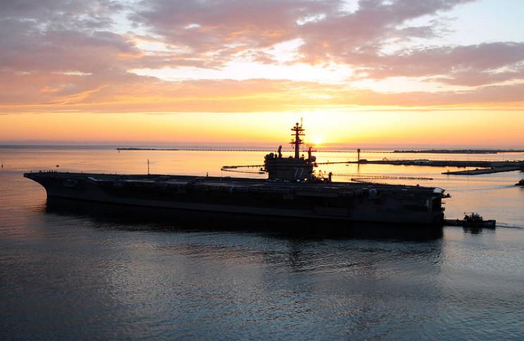 USS George HW Bush at dusk
