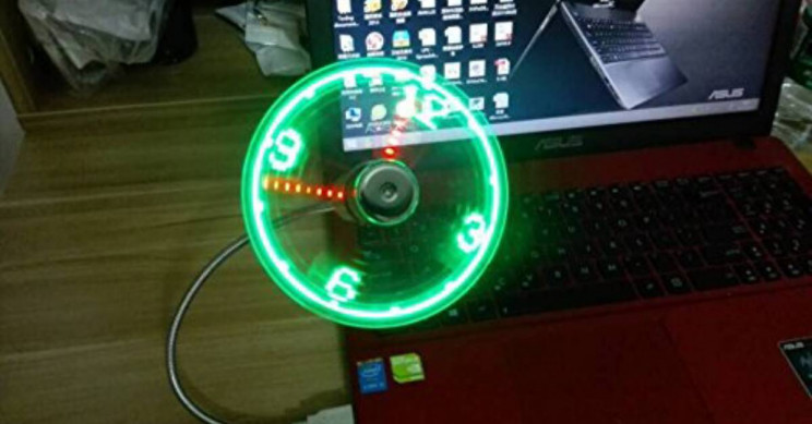 ONXE USB LED Clock Fan