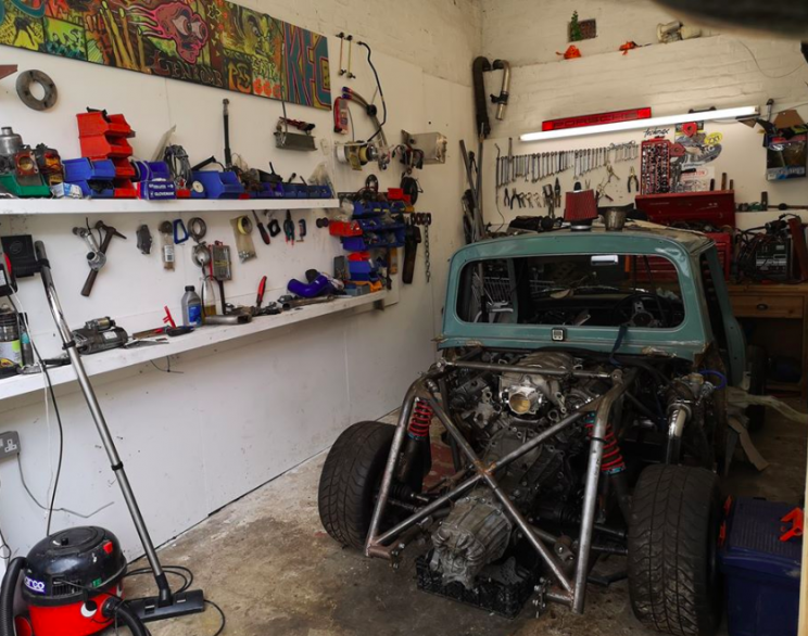 1969 Mini Pick Up Truck Kitted out with a Twin-Turbo Audi V-8 in Its Bed