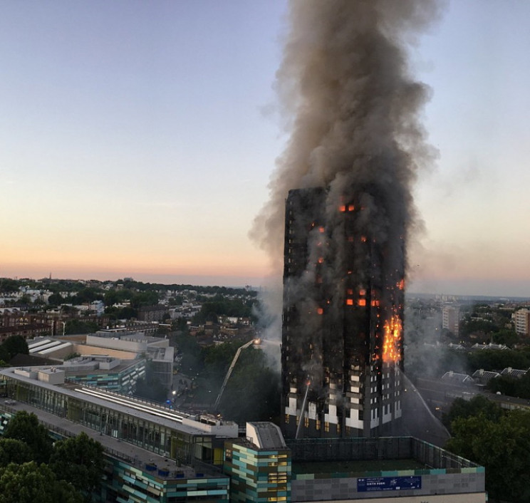 Grenfell Tower during fire